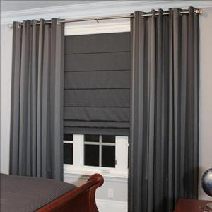 Luciano Grommeted Panels Accompanied with Lorenzo Roman Blinds